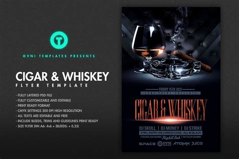 Cigar Whiskey Flyer Template Flyer Templates Creative Market Cigar Website Templates