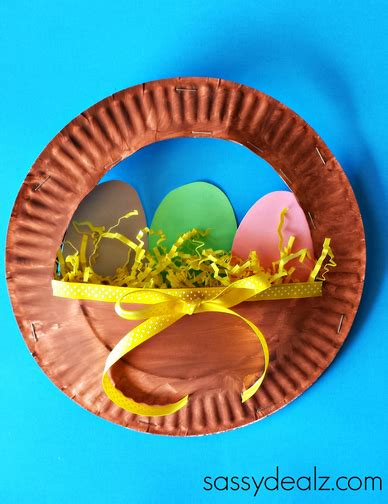 Paper Plate Easter Basket Craft - 3d paper plate easter basket craft for crafty morning