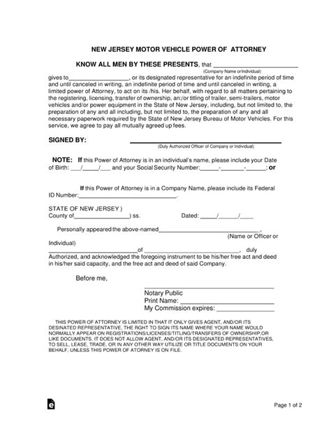 Free New Jersey Motor Vehicle Power Of Attorney Form Pdf Word Eforms Free Fillable Forms Power Of Attorney Template Nj