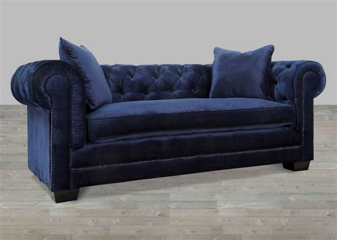 navy velvet sofa with nailheads