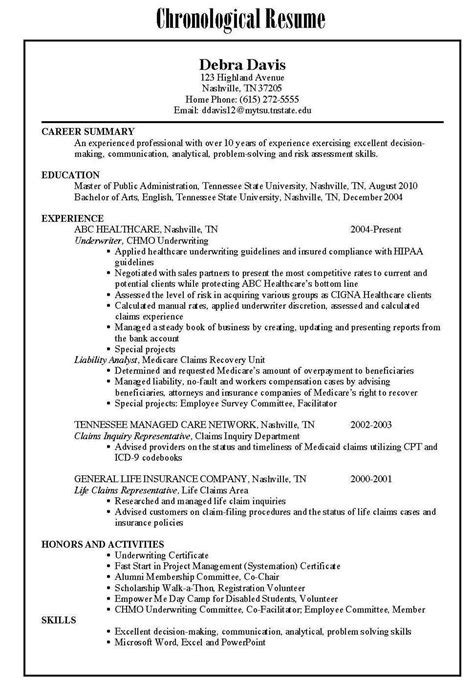 functional chronological resume sles