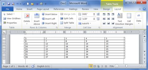word layout tab create modify delete table ms word 2010 tutorial