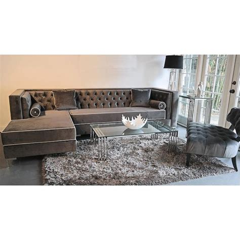 Velvet Sectional Sofa Decenni Custom Furniture Tobias Grey Velvet Tufted Sofa