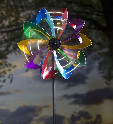 bicycle wind spinner with solar light led flower wind spinner wind spinners plow hearth