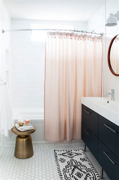 white shower curtain with black trim pink shower curtain with pom pom trim chic black and