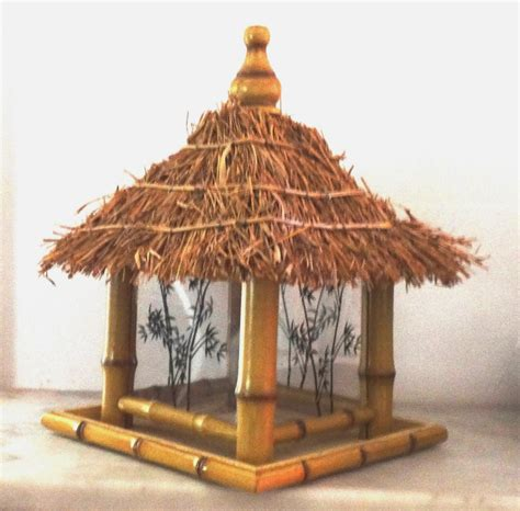 Tiki Hut Topper Vintage Large Capacity Tiki Hut Bird Feeder Faux Bamboo