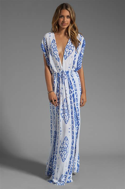 Dress Indah indah jade v neck draped lounge dress in blue lyst