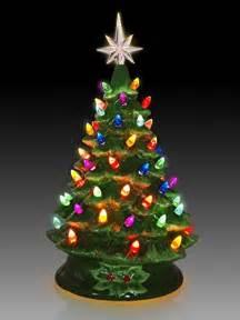 tabletop ceramic lighted green christmas tree