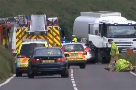 car crash south wales a44 car crash four dead and baby rushed to hospital following horror collision daily post