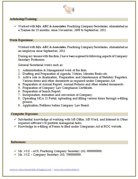 company resume format 10000 cv and resume sles with free