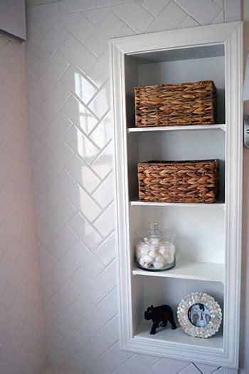 Bathroom Built In Storage Herringbone Subway Tile Lemon Grove Avenue