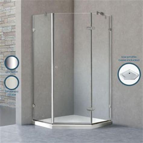 Vigo Verona 36 125 In X 76 75 In Frameless Neo Angle Vigo Glass Shower Door