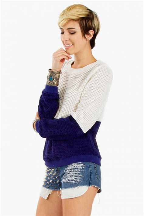 Color Block Sweater navy color block sweater modishonline