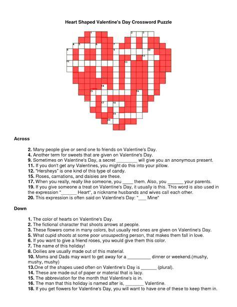 valentines puzzle valentines crossword november 2013