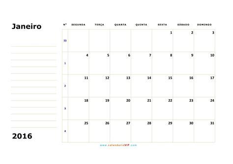 Calendario Mensal Calend 225 Janeiro 2016 Para Imprimir Calend 225 Riovip