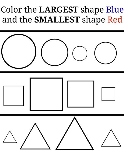 color the shapes learning large and small pre k shape