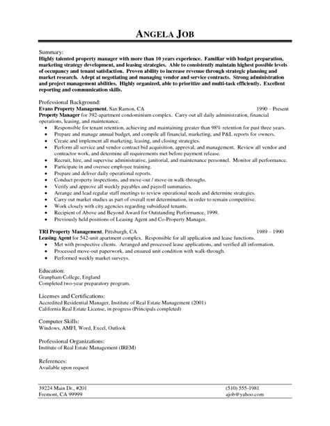 property manager resume description sle property manager resume writing resume sle