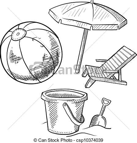 item doodle draw vectors of vacation items sketch doodle style