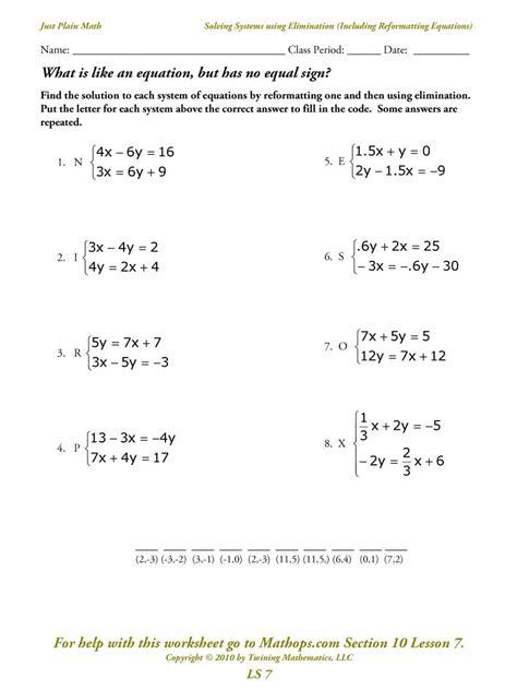 system  linear equation worksheets