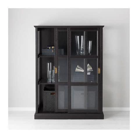 ikea malsjo malsj 214 vitrineskab sort bejdse sort bejdse cabinets