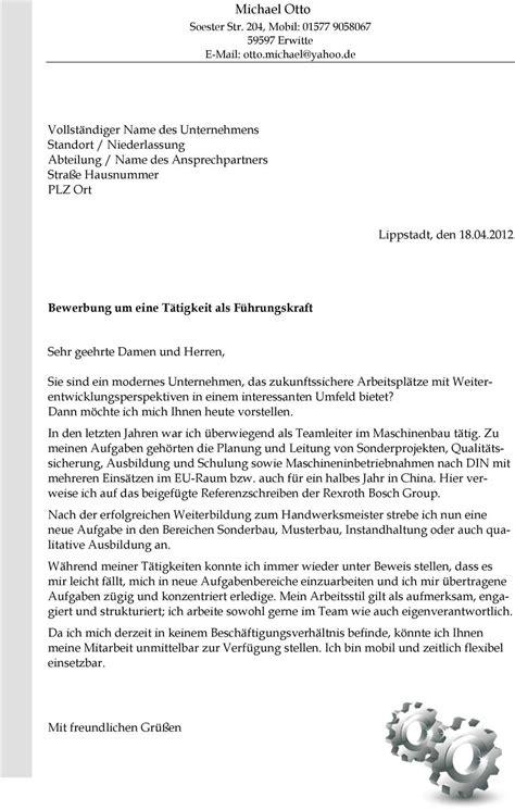 Initiativbewerbung Vorstellen Bewerbung Als Feinwerkmechanikermeister Pdf