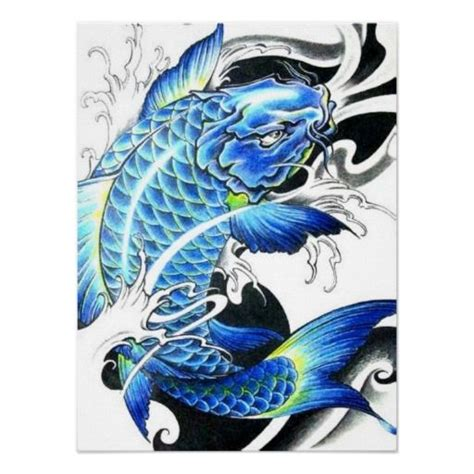 japanese koi fish drawings cool japanese blue koi fish poster zazzle com au daring