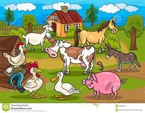 Barnyard In Your Backyard Farm Animals Rural Scene Cartoon Illustration Royalty Free