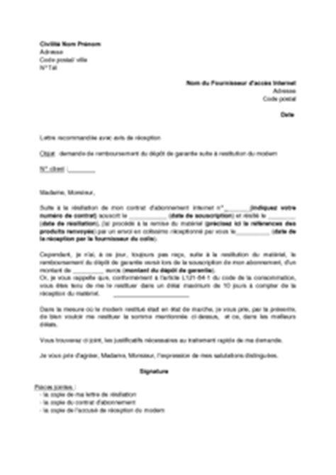 Demande De Lettre De Garantie Lettre De Demande De Restitution Du D 233 P 244 T De Garantie Suite 224 La R 233 Siliation De L Abonnement