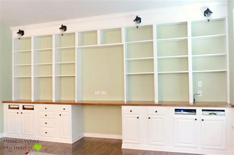 building wall bookshelves remodelaholic build a wall to wall built in desk and