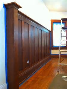 wood wainscoting stained solid wood wainscoting craftsman bungalow