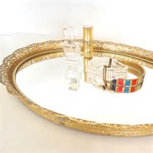 vintage gold mirrored vanity tray by lagypsyyaya on etsy