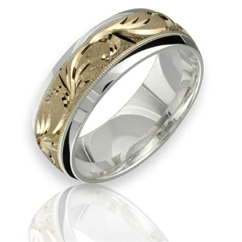 yellow gold wedding ring  sterling silver mm wide