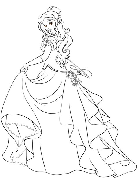 lineart glamorous fashion belle by selinmarsou on