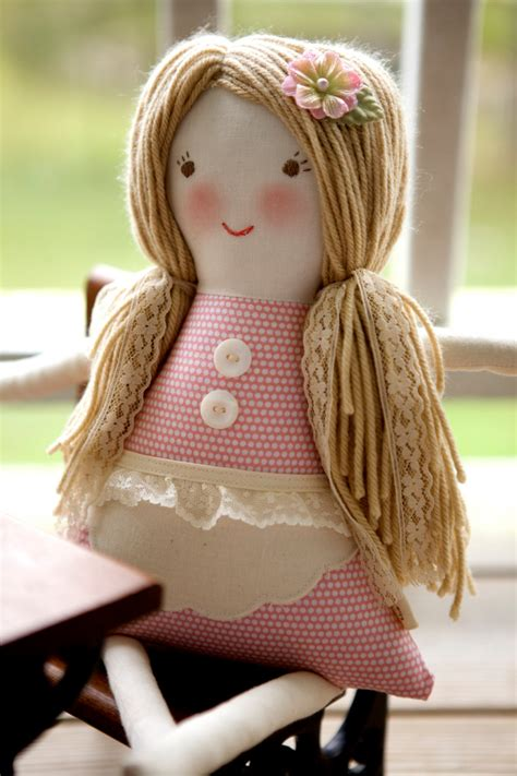 Handmade Cloth Dolls - handmade cloth doll waldorf rag doll vintage lace by