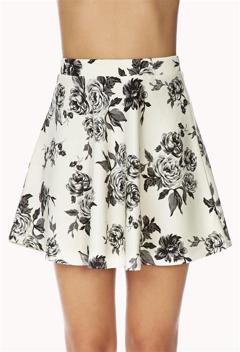 Forever 21 Flower Skirt lyst forever 21 dainty floral skirt in white