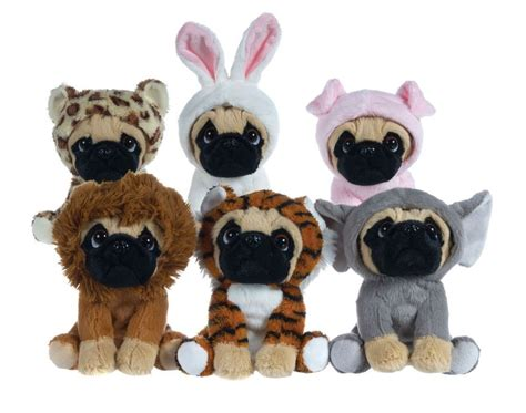 pug plushies plush toys pug 6 1 2 quot pug in 6 costumes onesy cuddly soft teddy plush ebay