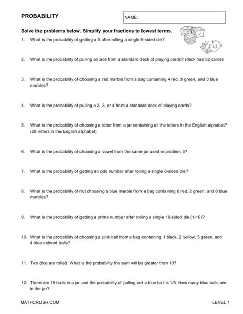 diagram word problems 6th grade probability worksheets 6th grade printable probability