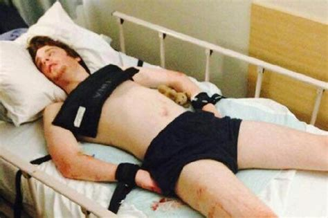 guy tied to bed anger as man with severe autism shackled to hospital bed