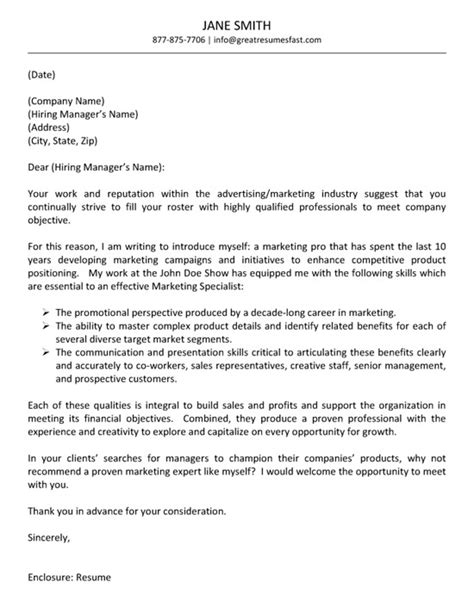 Advertising Cover Letter advertising cover letter exle