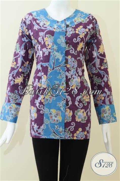 Blus Batik Biru Xl blus batik kombinasi warna ungu dan biru motif batik