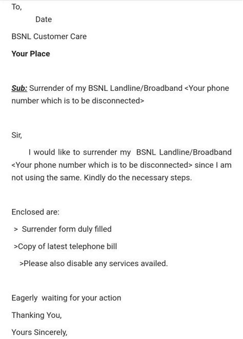 letter format for cancellation net connection bsnl security deposit refund letter format docoments