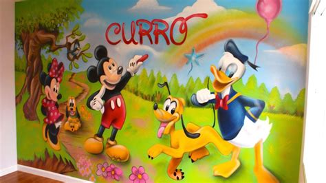 Minnie Mouse Wall Murals decoracion mickey mouse 180 180 graffiti mural youtube
