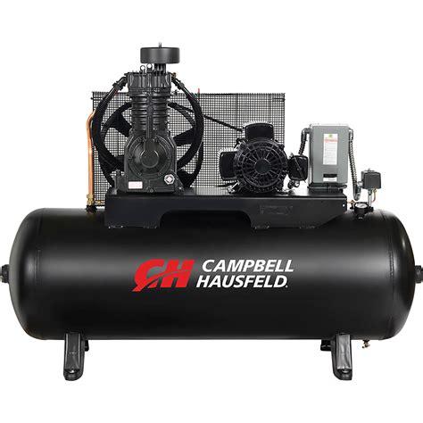 cbell hausfeld two stage air compressor 5 hp 16 6 cfm 175 psi 208 230 460 volt three