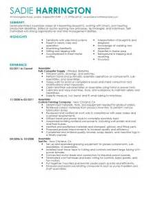 Assembly Resume by Best Assembler Resume Exle Livecareer