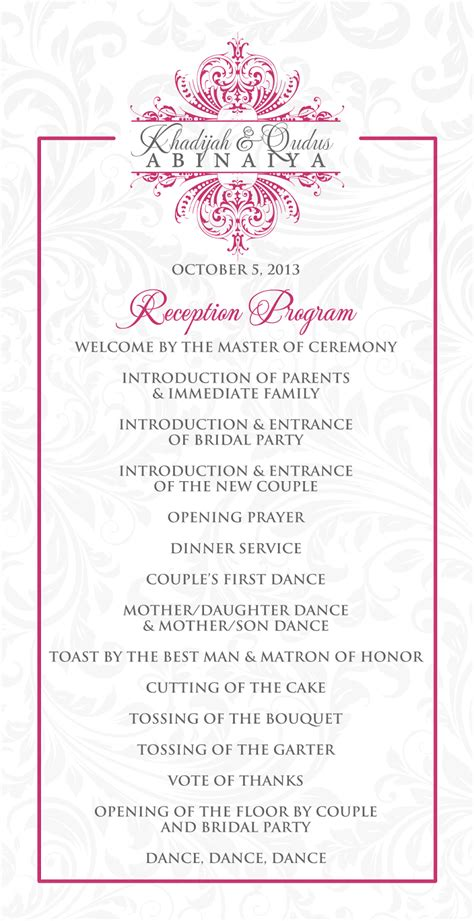 reception program templates wedding program outline template search results