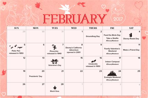 printable calendar 2018 disney february 2017 printable calendar coloring sheet disney
