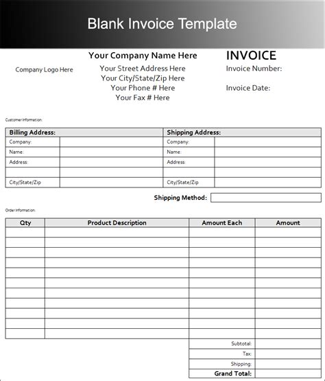 customizable invoice template free invoice templates pdf word excel format