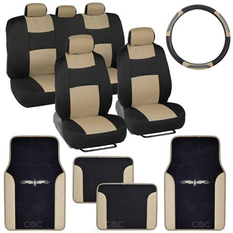 Car Mats And Seat Covers by 14pc Car Seat Covers Set Bench Black Beige W Pu