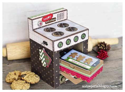 How To Make A Cookie Box Out Of Paper - an oven gift box with a door that opens to reveal a