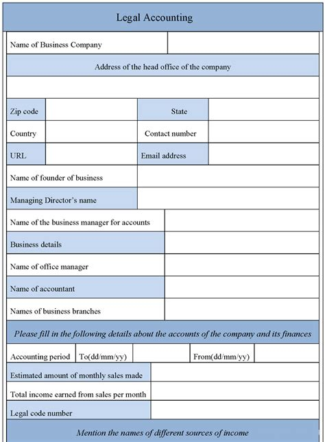 sle legal accounting form sle forms